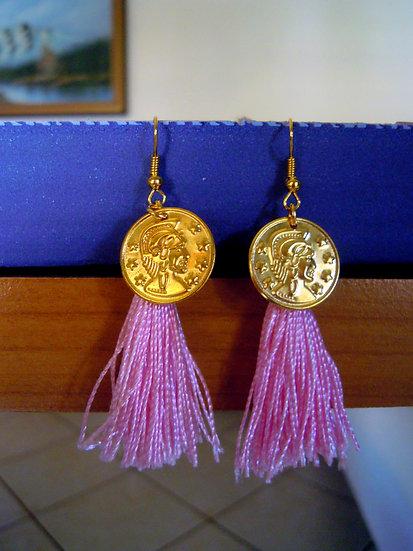 Greek Style Pink Tassel Earrings