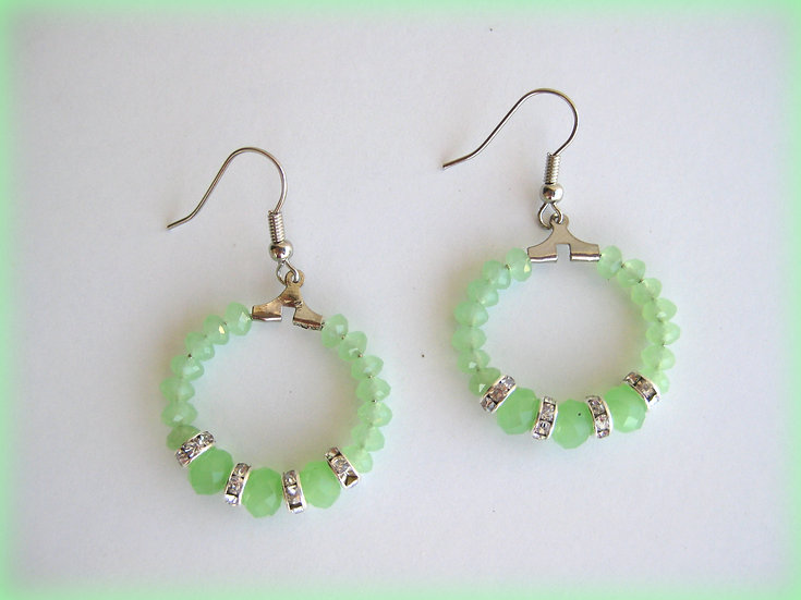 Green Crystals Little Hoops