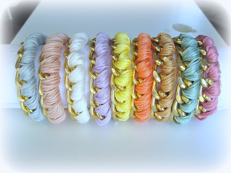 Gold Chain & Thread Bracelet