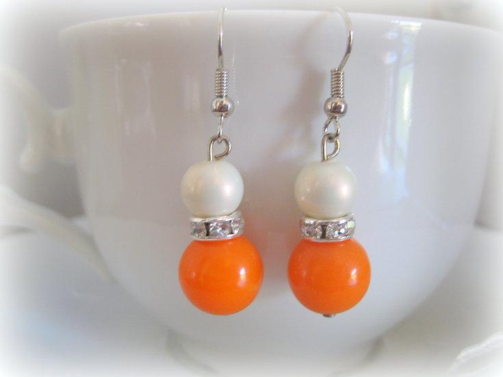 Orange Pearls Earrings