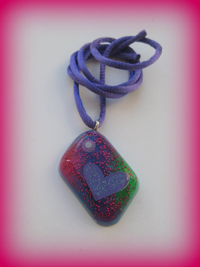 Heart in Glitter Resin Pendant