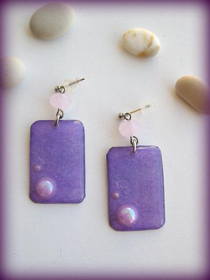 Purple Pearls Resin Earrings