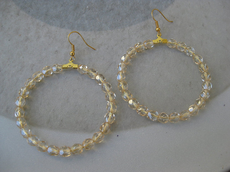 Champagne Crystals Hoops