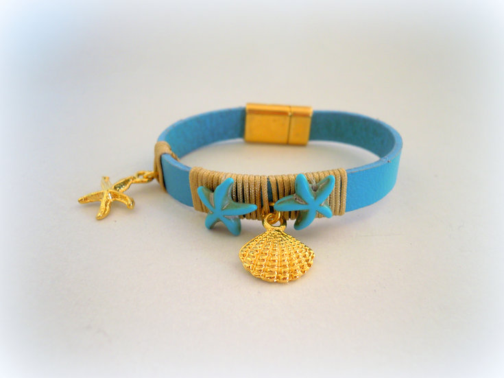 Summer Blue Leather Bracelet