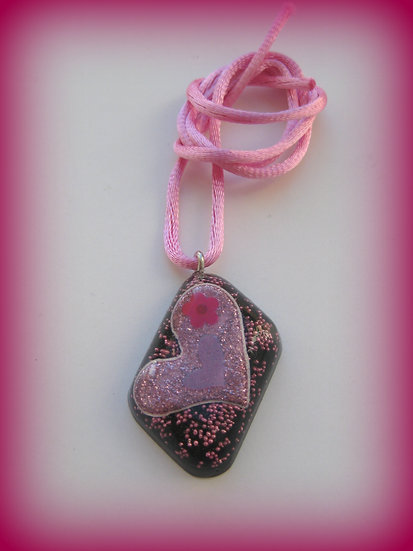 Pink Heart Resin Pendant