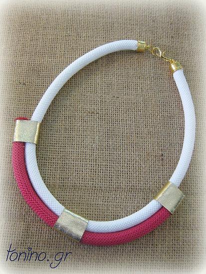 Fuchsia-White x2 Statement Necklace