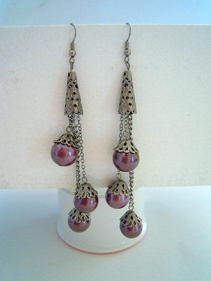 Purple Pearls Long Earrings