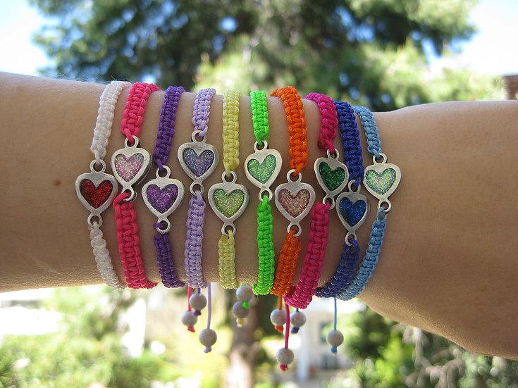 Resin Hearts Macrame Bracelets
