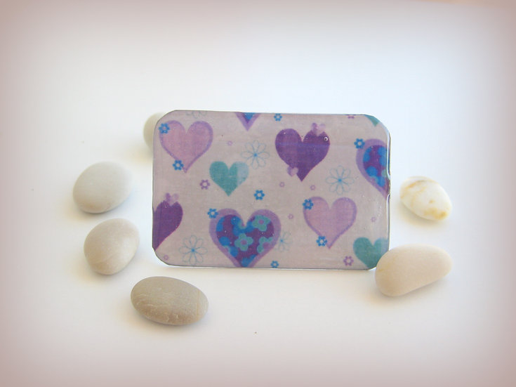 Purple Hearts Resin Ring