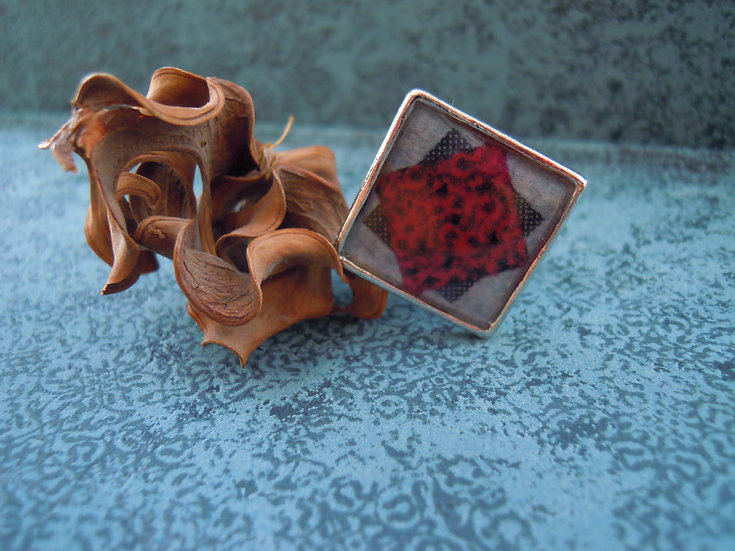 Red Square Resin Ring