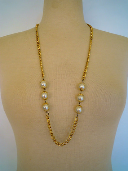 Gold Pearls Long Necklace