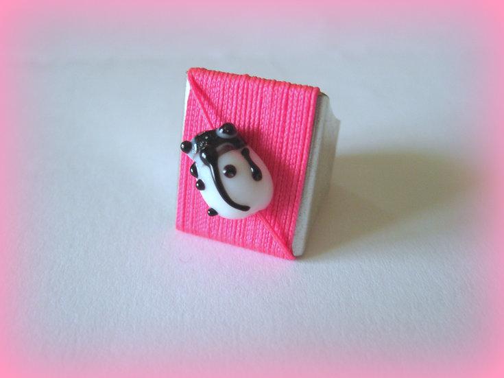 White Ladybug Ring