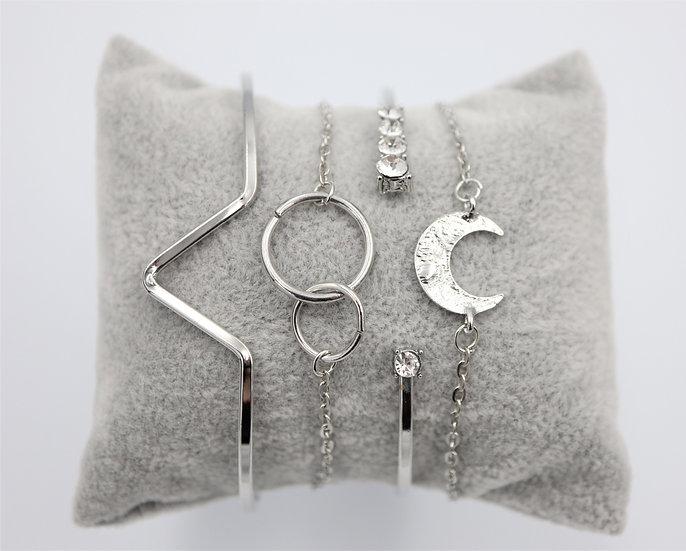 Silver Moon Bracelet Set