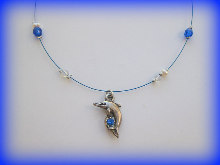 Sterling Silver Dolphin Pendant with Blue Crystal