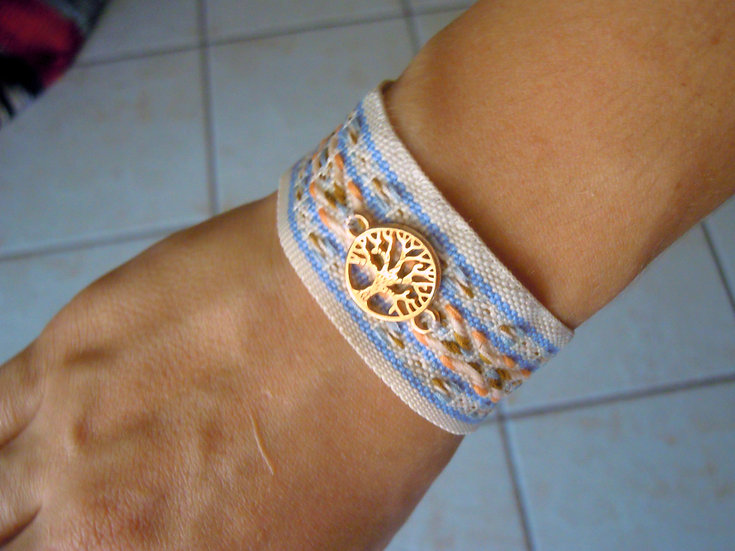 Ribbon Bracelet with Tree of Wishes