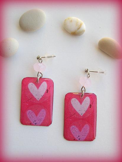 Hearts in Fuchsia Resin Earrings