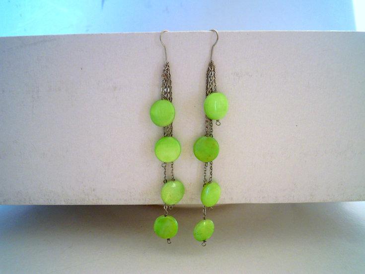Green Smarties Long Earrings