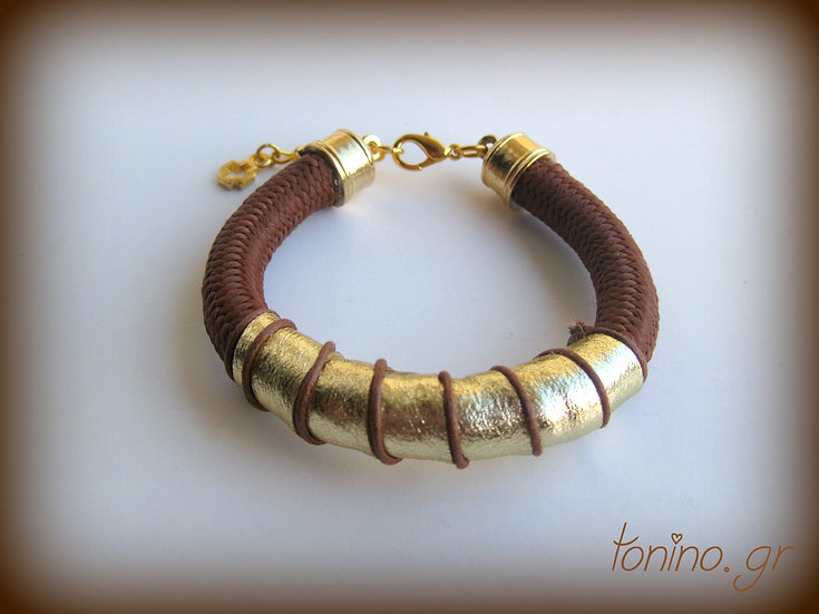 Gold Leather Climbing Rope Bracelet