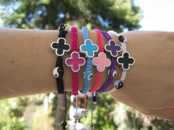 Cross & Charms Macrame Bracelet