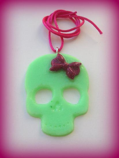 Green Skull Resin Pendant