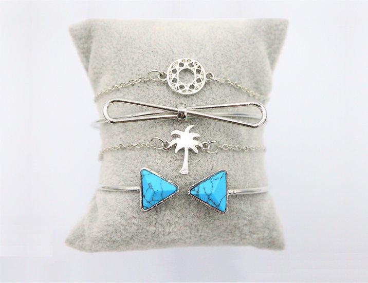 Turquoise Bow Bracelet Set