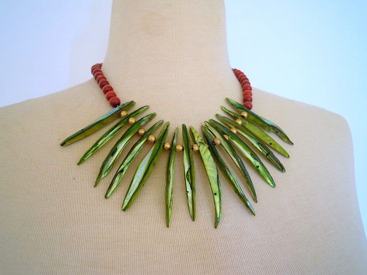 Boho Indian Necklace (Green)