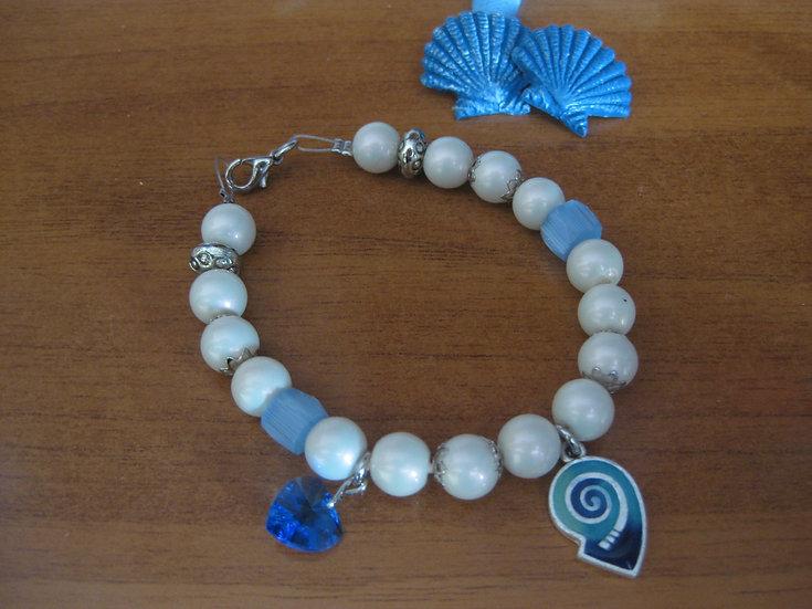 Blue Shell & Pearls Bracelet