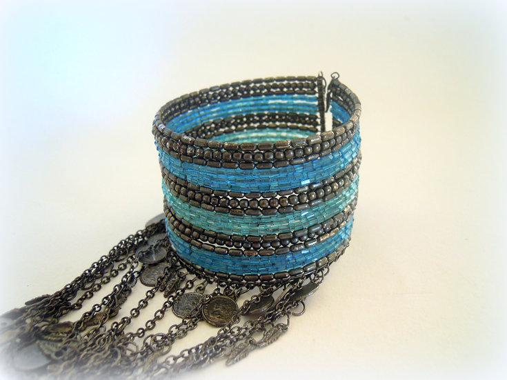 Blue Boho Bangle