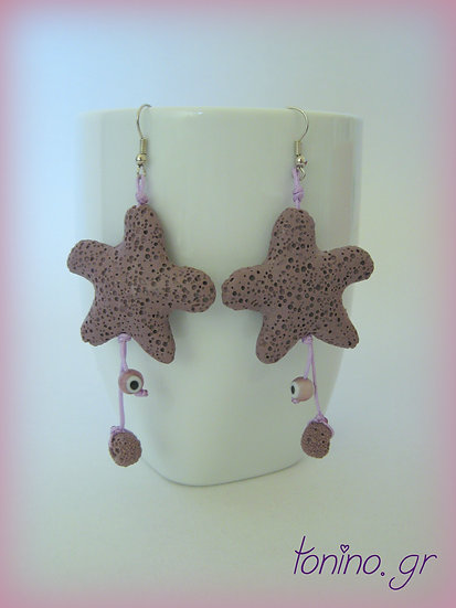 Purple Lava Stone Starfish Earrings