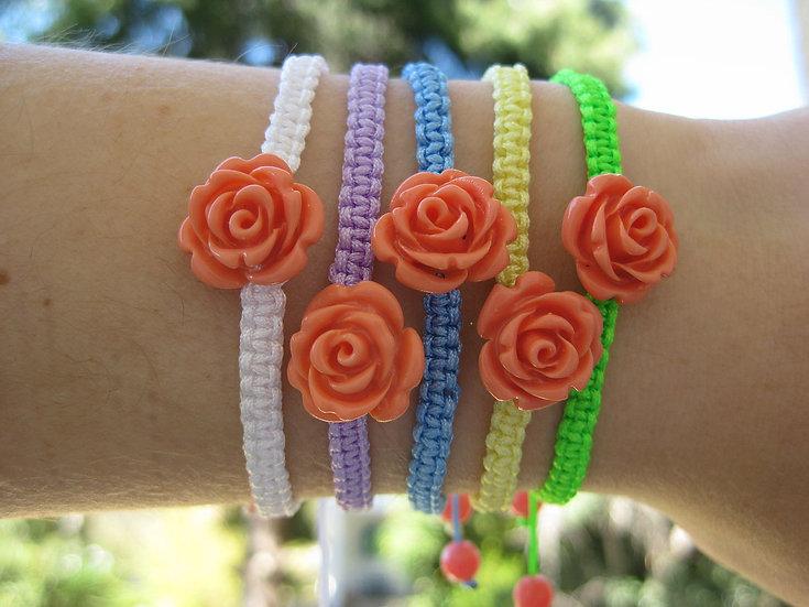 Coral Roses Macrame Bracelet