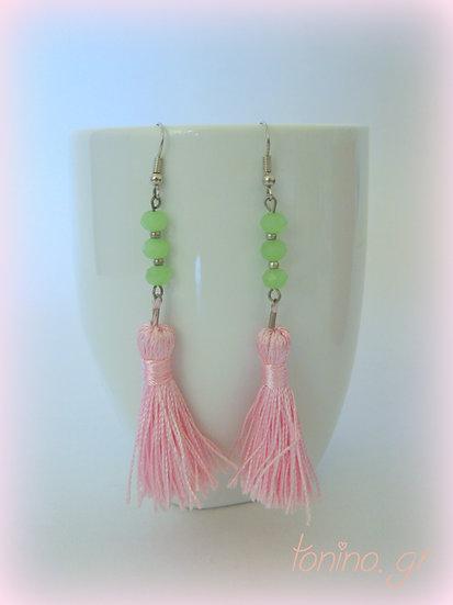 Pink Tassel Long Earrings