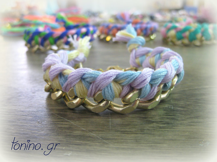 Gold Chain & Knitted Threads Bracelet