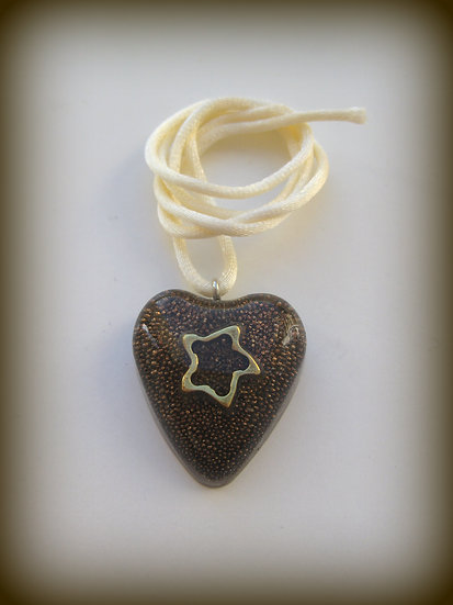 Starfish in Heart Resin Pendant