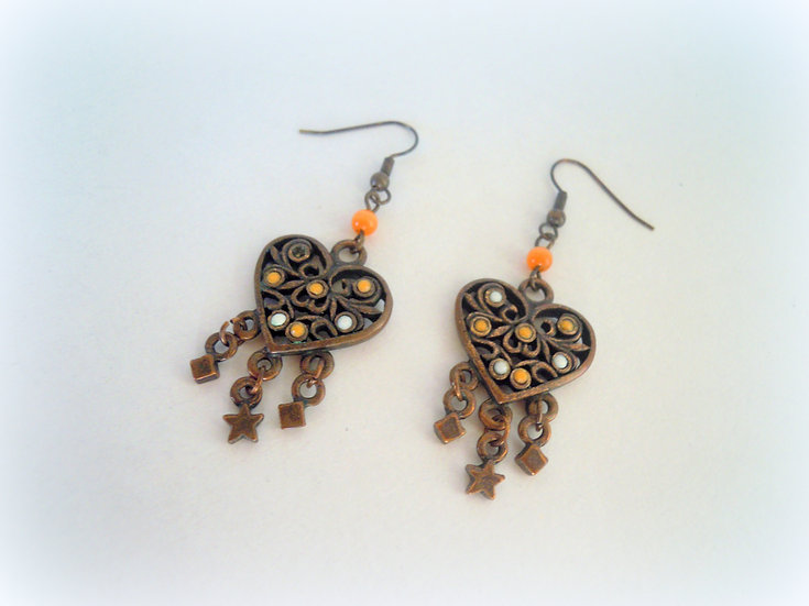 Copper Heart Earrings