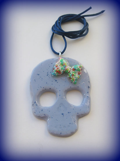 Candy Bow Skull Resin Pendant