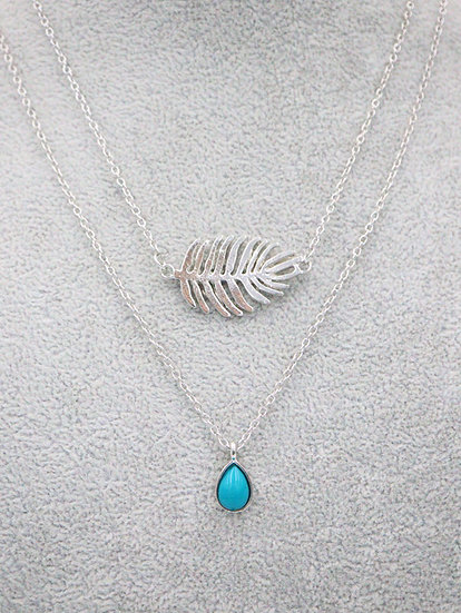 Turquoise Leaf Necklace Set