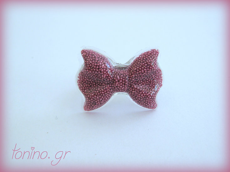 Bow Resin Ring - Pale Pink