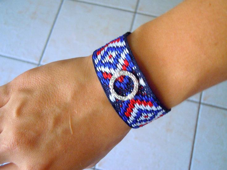 Blue Circle Ribbon Bracelet
