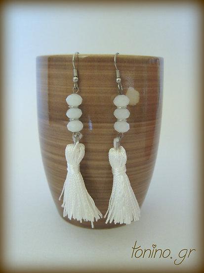 White Tassel Long Earrings