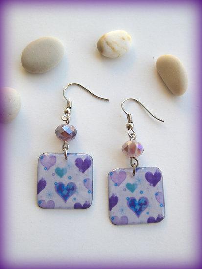 Purple Hearts  Resin Earrings