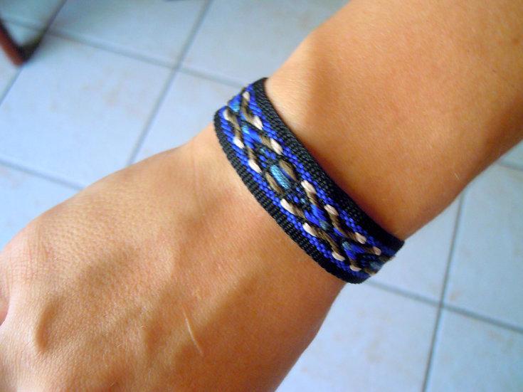 Blue / Black  Ribbon Bracelet