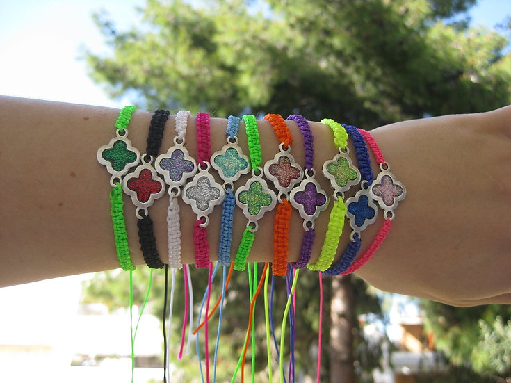 Resin Crosses Macrame Bracelets