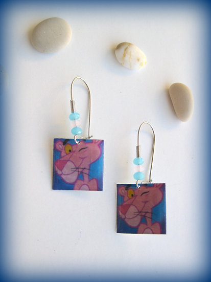 Pink Panther Resin Earrings