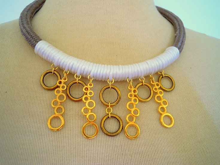 Gold Bubbles Statement Necklace