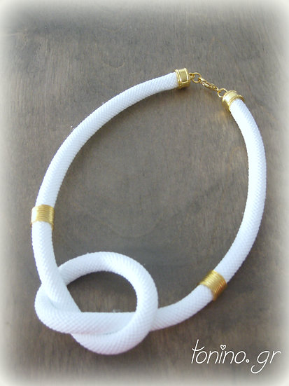 White Knot Statement Necklace