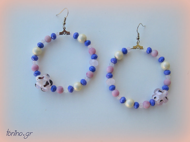 Purple to White Crystals Hoops