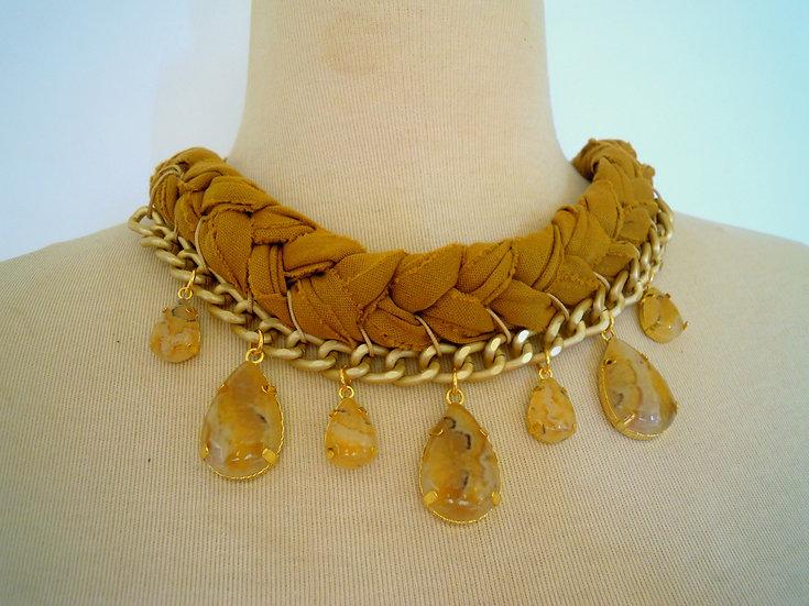 Ethnic Gold/Beige Statement Necklace