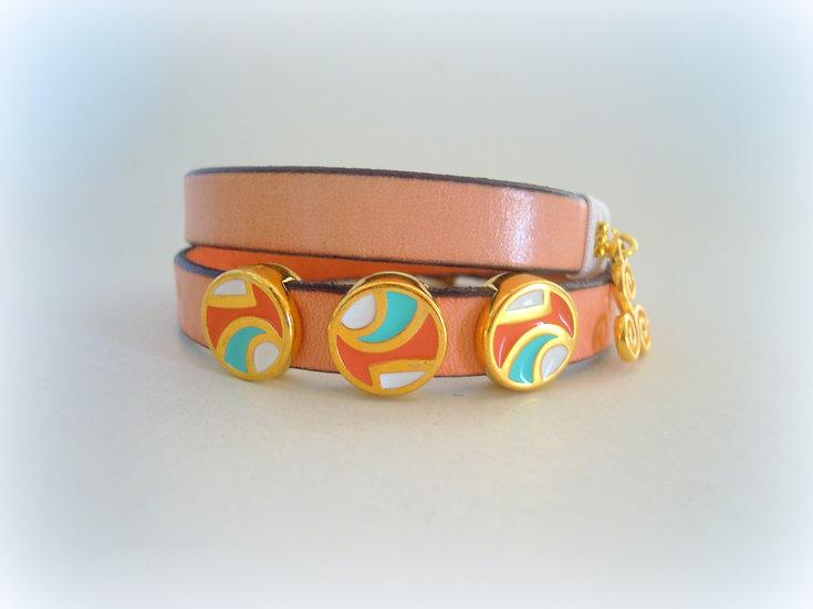 Coral / Pink Leather Bracelet