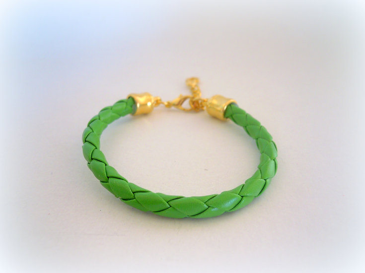 Green Knitted Faux Leather Bracelet
