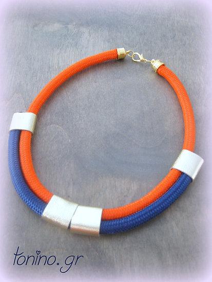 Navy Blue-Orange x2 Statement Necklace